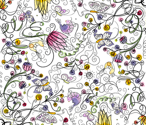 Secret Garden  - © Lucinda Wei fabric by lucindawei on Spoonflower - custom fabric