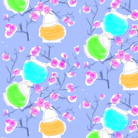 Cherry Blossoms & Paper Lanterns! (sketch multi) fabric by pattyryboltdesigns on Spoonflower - custom fabric