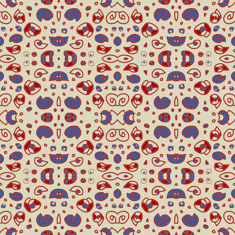 Greek Shells Ditsy Sand Red Blue fabric by marie_s on Spoonflower - custom fabric