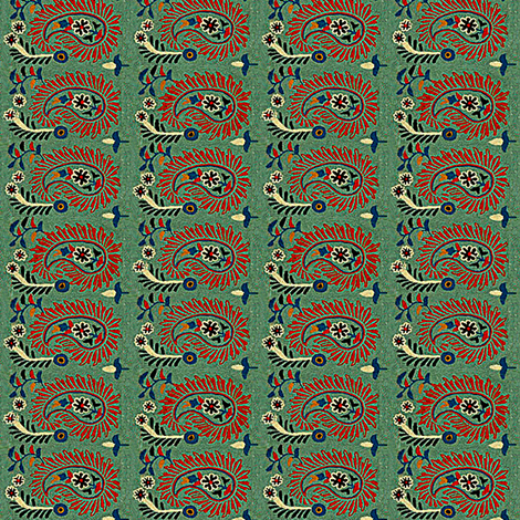 Red on Green Paisley fabric by zephyrus_books on Spoonflower - custom fabric