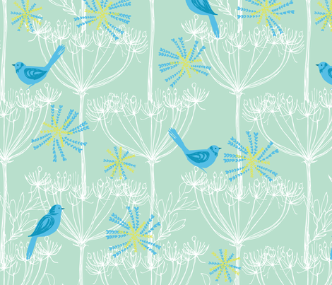 sketch plants & birds - blues fabric by bethan_janine on Spoonflower - custom fabric