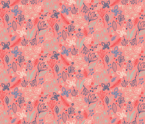 pretty nature - pink fabric by bethan_janine on Spoonflower - custom fabric