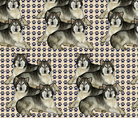 Alaskan Malamute repeat fabric by dogdaze_ on Spoonflower - custom fabric