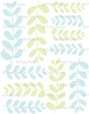 Olive Branches 2 (lt. lime, lt. aqua & white)