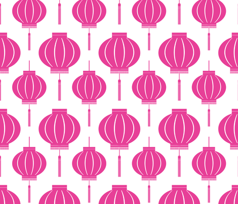 ChineseLantern_pattern_light-pink fabric by blackpomegranate on Spoonflower - custom fabric