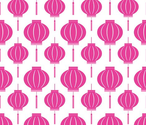 ChineseLantern_pattern_light-pink fabric by blackpomegranate on Spoonflower - custom fabric
