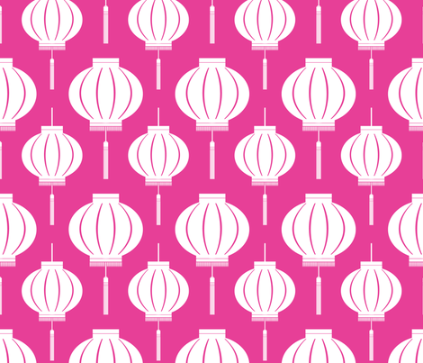 ChineseLantern_pattern_light-pink-reverse fabric by blackpomegranate on Spoonflower - custom fabric
