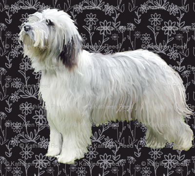 bearded collie Floral fabric