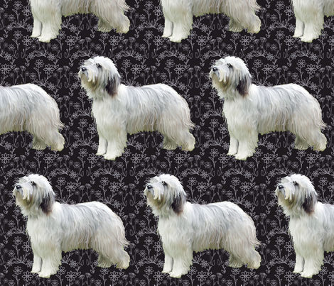 bearded collie Floral fabric fabric by dogdaze_ on Spoonflower - custom fabric