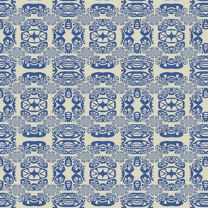 Coral Drawing Linen Blue
