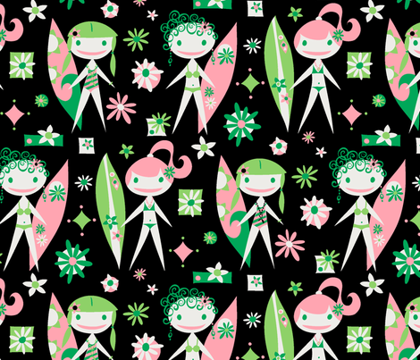 Surfer Girls (black) (large) fabric by happyjonestextiles on Spoonflower - custom fabric
