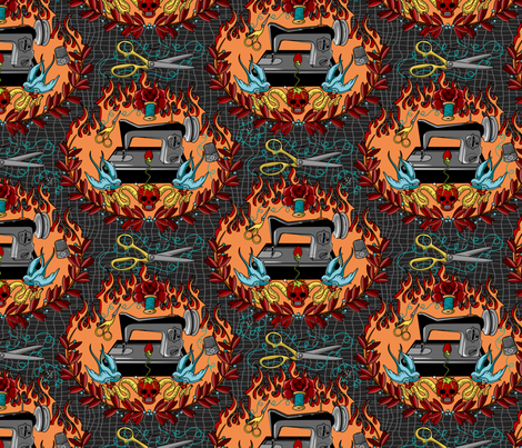 Reap what you Sew - Hellfire fabric by thirdhalfstudios on Spoonflower - custom fabric