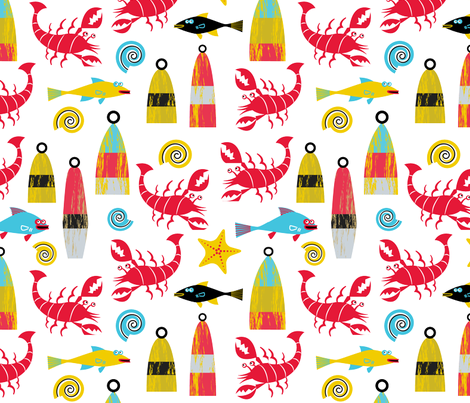 Lobsters fabric by edmillerdesign on Spoonflower - custom fabric