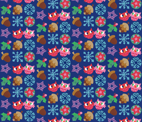 Super Hoot Winter Owls, Acorns & Stars fabric by super_hoot on Spoonflower - custom fabric