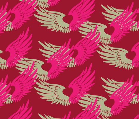 Heartwings: Pink, Beige fabric by penina on Spoonflower - custom fabric