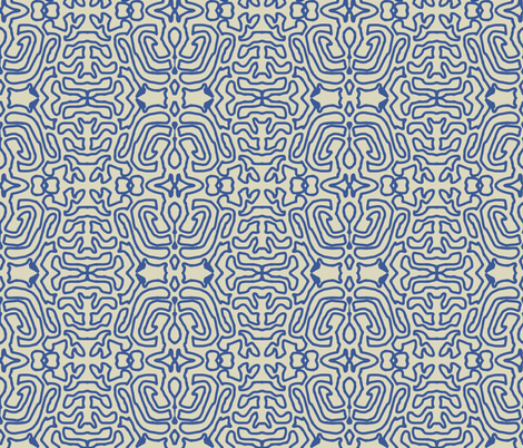 Drawing Blue Linen fabric by marie_s on Spoonflower - custom fabric