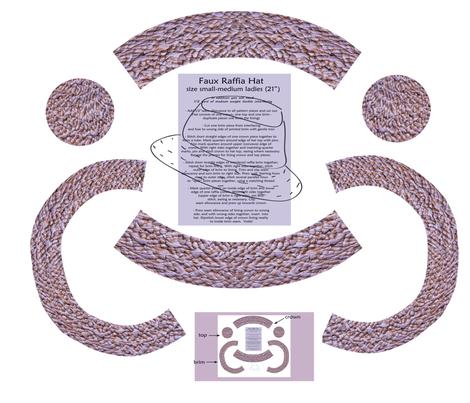 raffia_hat_placement_print_ fabric by mangomail on Spoonflower - custom fabric