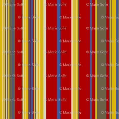 Red Gold Mud Blue Linen Stripe
