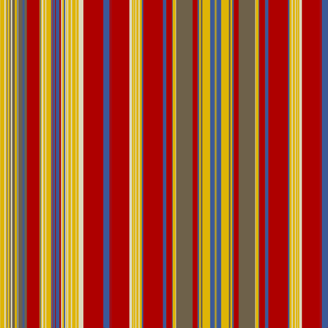 Red Gold Mud Blue Linen Stripe fabric by marie_s on Spoonflower - custom fabric