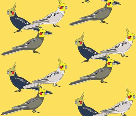 Cockatiels - Yellow fabric by owlandchickadee on Spoonflower - custom fabric