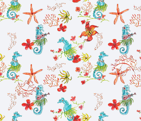 SEAHORSE HULA fabric by palmrowprints on Spoonflower - custom fabric