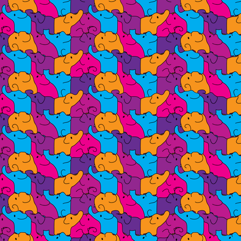 Pink Elephant Jigsaw fabric by ebygomm on Spoonflower - custom fabric