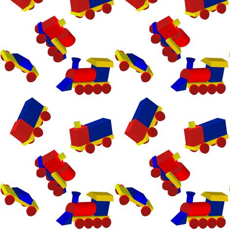 Block Trucks on White fabric by carmenscottagecreations on Spoonflower - custom fabric