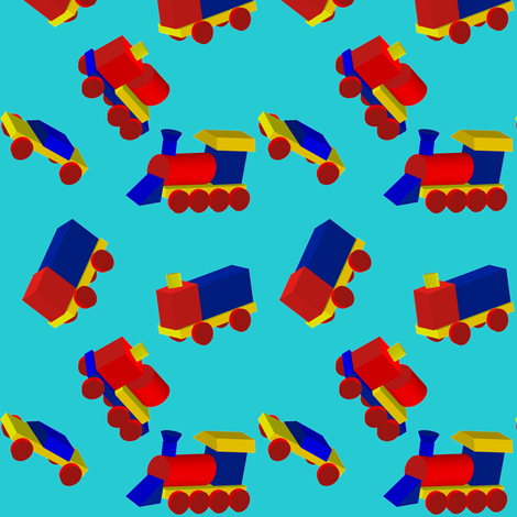 Block Trucks on Sky Blue fabric by carmenscottagecreations on Spoonflower - custom fabric