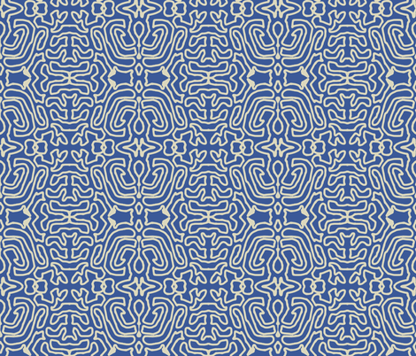 Drawing Linen Blue fabric by marie_s on Spoonflower - custom fabric