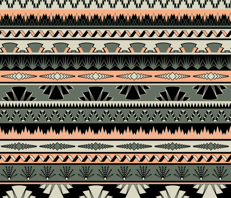 Art deco stripes - salmon fabric by ravynka on Spoonflower - custom fabric