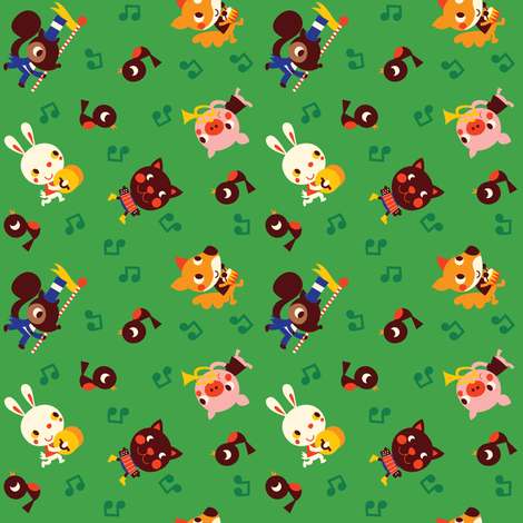 Retro Animals Green fabric by bora on Spoonflower - custom fabric