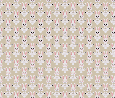 Spring Bunny (tan) fabric by thalita_dol on Spoonflower - custom fabric