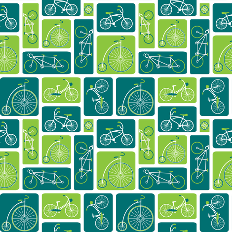 Retro green bicycle love fabric by ebygomm on Spoonflower - custom fabric