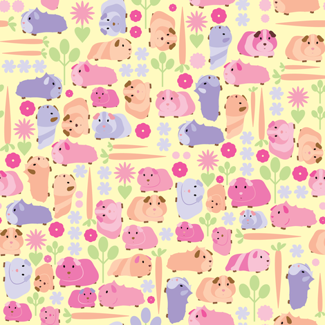 Pastel Guinea Pig Vegetable Patch  fabric by ebygomm on Spoonflower - custom fabric