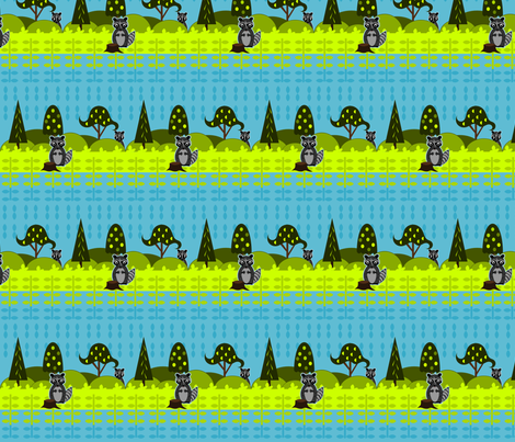 Shy Racoons fabric by ninjaauntsdesigns on Spoonflower - custom fabric