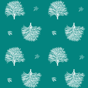 Turquoise trees and leaves