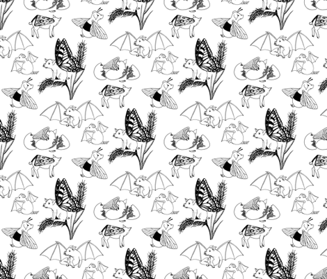 flying pigs toile fabric by sef on Spoonflower - custom fabric