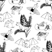 flying pigs toile