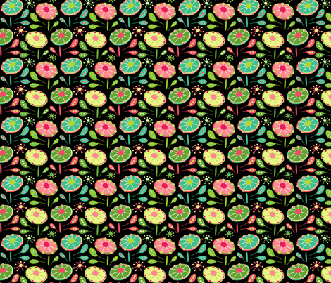 Flying Saucer Flowers fabric by happyjonestextiles on Spoonflower - custom fabric