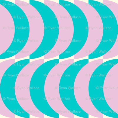 Blue and Pink Half Circles