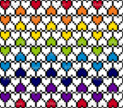 Small Pixel Hearts Rainbow