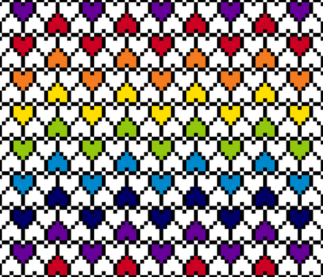 Big Pixel Hearts Rainbow fabric by modgeek on Spoonflower - custom fabric
