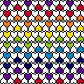 Big Pixel Hearts Rainbow