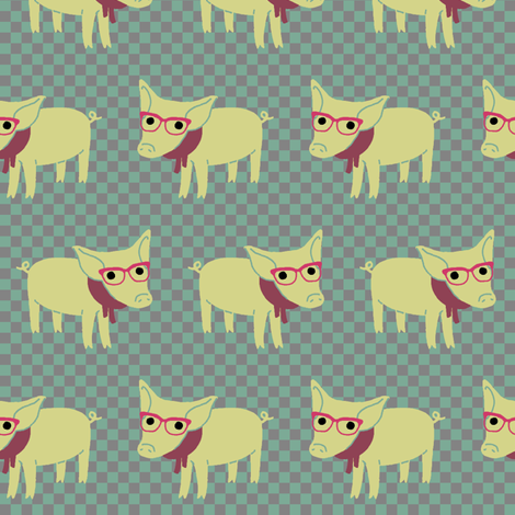 Hipster Piglet fabric by mongiesama on Spoonflower - custom fabric