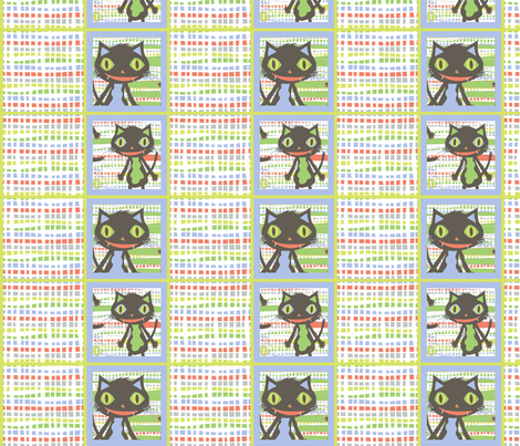 Rocket Cat Squares Mini (white) fabric by happyjonestextiles on Spoonflower - custom fabric