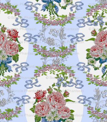 Embroidered Roses Brocade Medaillons - Blue