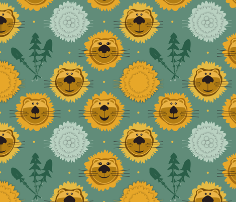 Dande-Lions fabric by run_quiltgirl_run on Spoonflower - custom fabric