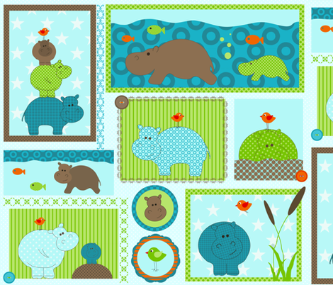 Hippo-Birdie fabric by drafoeki on Spoonflower - custom fabric