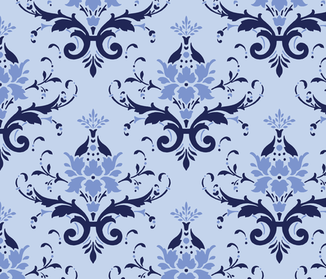 Victorian Flourish (blue) fabric by studiofibonacci on Spoonflower - custom fabric