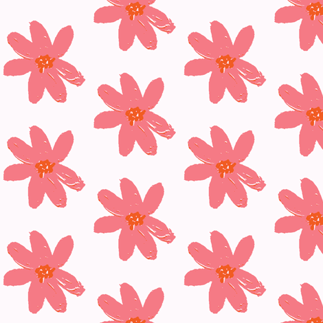 daisy pink fabric by palmrowprints on Spoonflower - custom fabric
